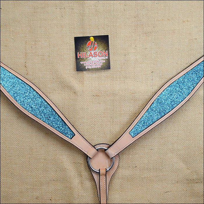 HILASON WESTERN LEATHER HORSE BREAST COLLAR TAN TURQUOISE INLAY