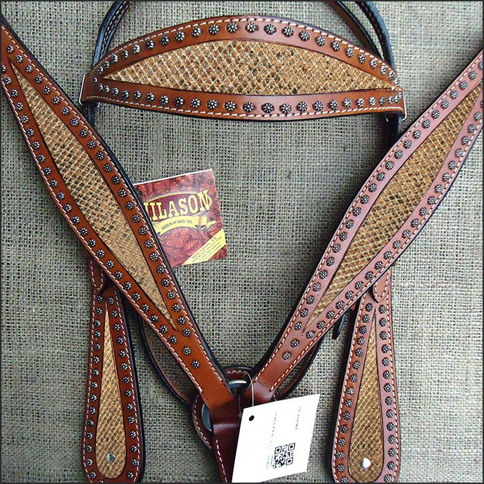HILASON WESTERN LEATHER HORSE HEADSTALL BRIDLE BREAST COLLAR MAHOGANY GOLD