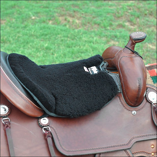 "1/2"" CLASSIC EQUINE WESTERN LONG FLEECE TUSH HORSE SADDLE CUSHION SEAT BLACK"