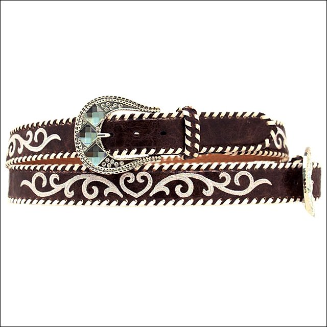 "XLARGE 1 1/2"" M&F WESTERN BROWN LEATHER WHITE STITCHED NOCONA BELT FLORAL BUCKLE"