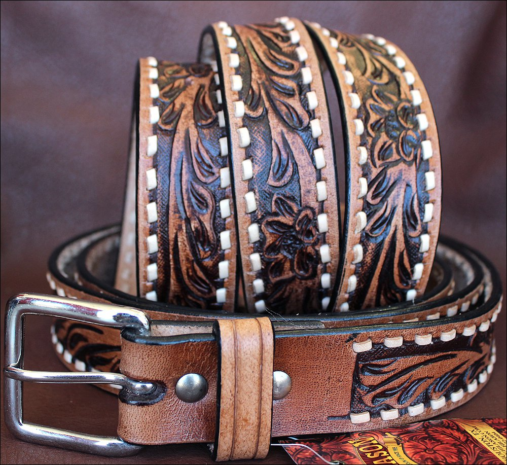 HS201 HILASON BROWN HANDMADE WESTERN WORK LEATHER MEN GUN HOLSTER BELT