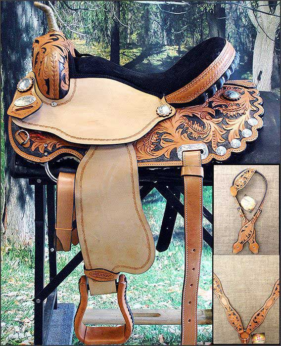 "AP569BK 17"" HILASON WESTERN FLEX TREE BARREL RACING TRAIL RIDING HORSE SADDLE"