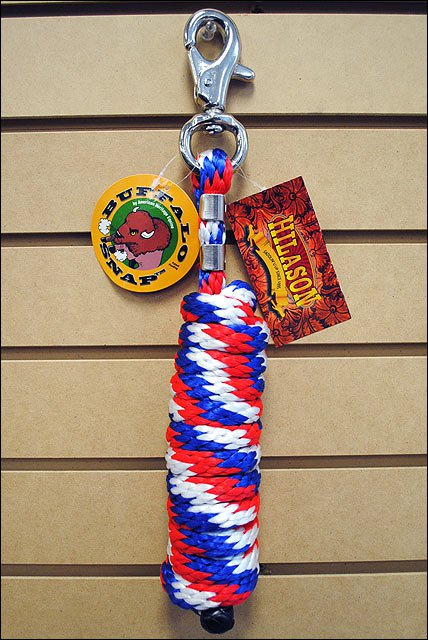 HORSE TACK BRAIDED POLY LEAD ROPE W/NPMI BUFFALO SNAP 5/8 X 10 RED WHITE BLUE
