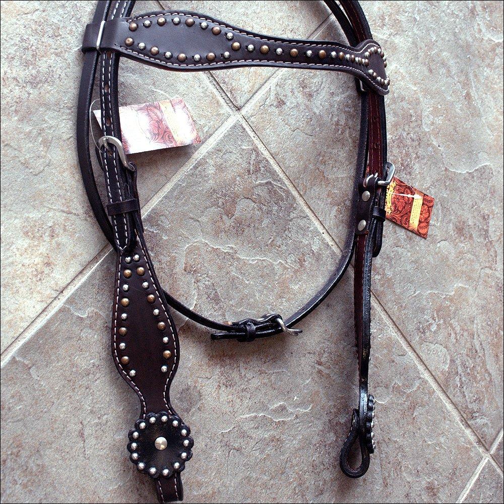 HILASON WESTERN LEATHER HORSE BRIDLE HEADSTALL DARK BROWN W/ STUDS