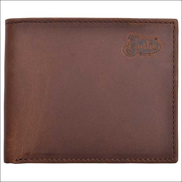 JUSTIN BROWN TAN DISTRESSED LEATHER BASIC BIFOLD MENS WALLET W/ 6 CARD SLOTS