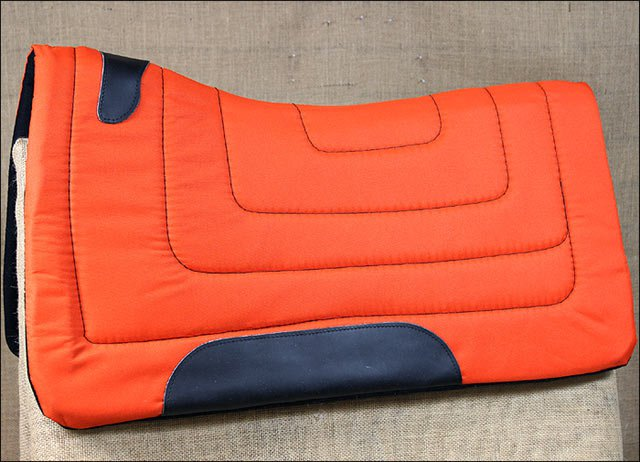 ORANGE HILASON HORSE SQUARE SADDLEBACK CONTOURED CUT SADDLE PAD W/ FELT BOTTOM