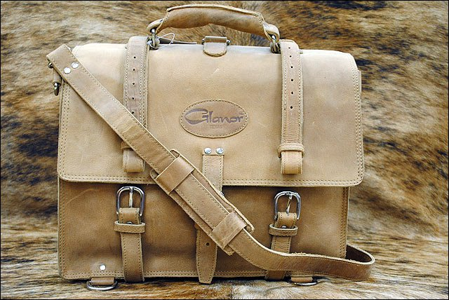 NATURAL GLANOR RUSTIC VINTAGE LEATHER BRIEFCASE BACKPACK LAPTOP BAG MED LRG & XL
