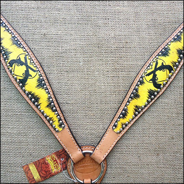 HILASON WESTERN LEATHER HORSE BREAST COLLAR YELLOW BLACK CROSS GUN