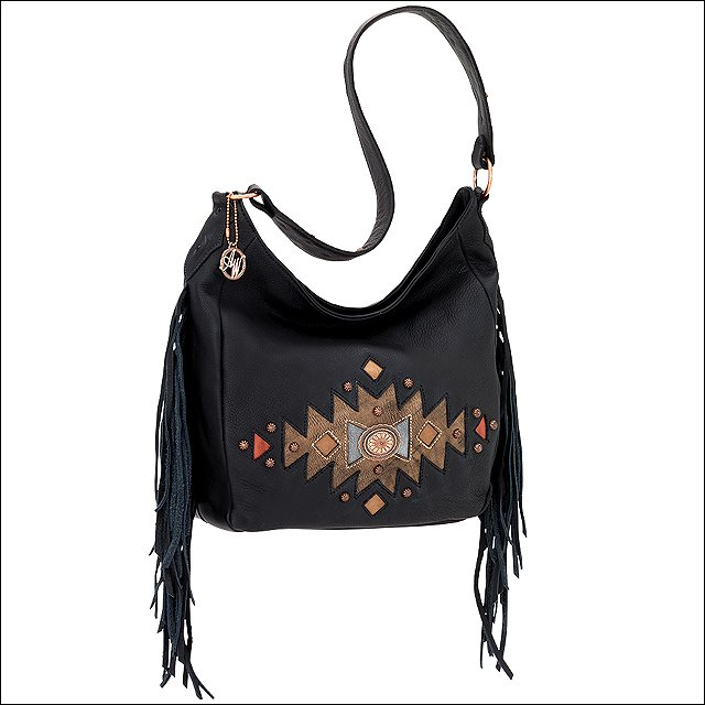 AMERICAN WEST LEATHER DREAM CATCHER LADIES SLOUCH SHOULDER HAND BAG PURSE BLACK