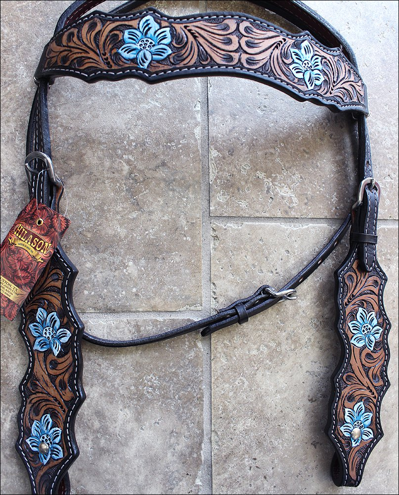HILASON WESTERN LEATHER HORSE BRIDLE HEADSTALL ANTIQUE BROWN