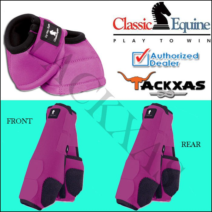 MEDIUM FUCHSIA CLASSIC EQUINE FRONT REAR LEGACY SPORTS HORSE NO TURN BELL BOOTS