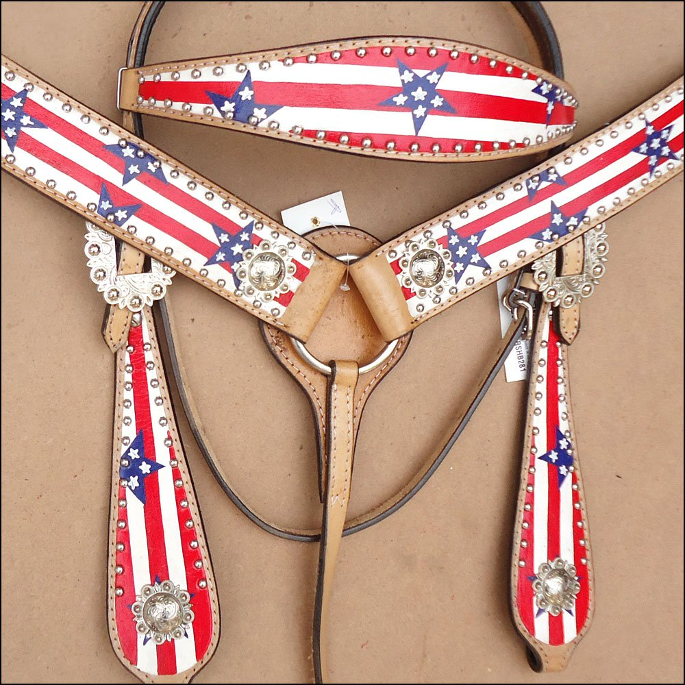 WESTERN LEATHER HORSE BRIDLE HEADSTALL BREAST COLLAR HAND PAINT AMERICAN FLAG