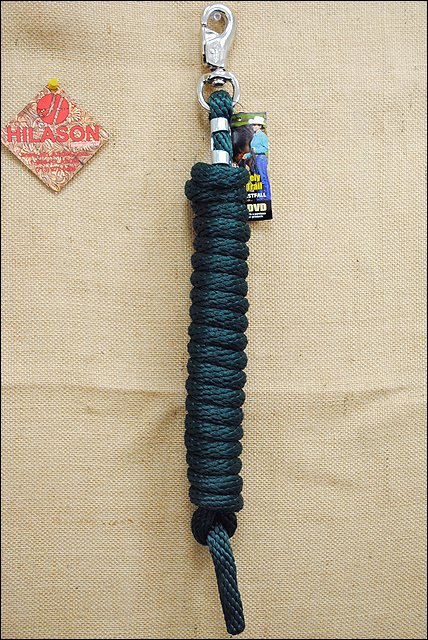 HUNTER GREEN POLY LEAD ROPE WITH NICKEL PLATED BULL SNAP WEAVER LEATHER