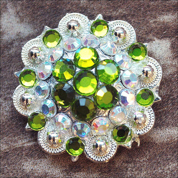 SET OF 2 PERIDOT GREEN AB CRYSTAL 1-1/4in BERRY CONCHO RHINESTONE SADDLE TACK