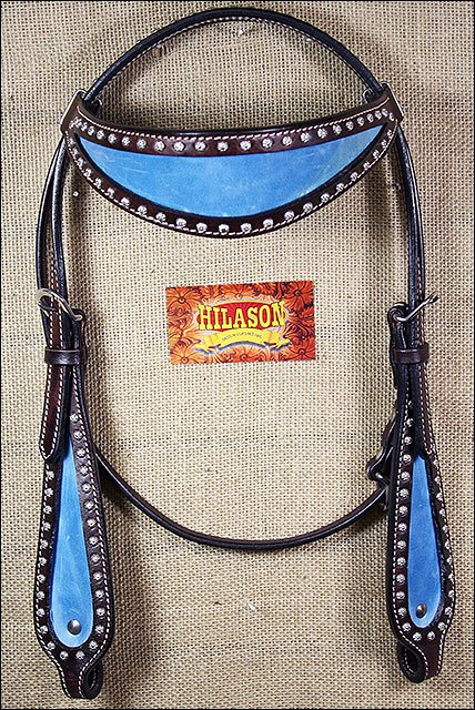 S463 HILASON WESTERN LEATHER HORSE BRIDLE HEADSTALL CHOCOLATE BROWN w/ TURQUOISE