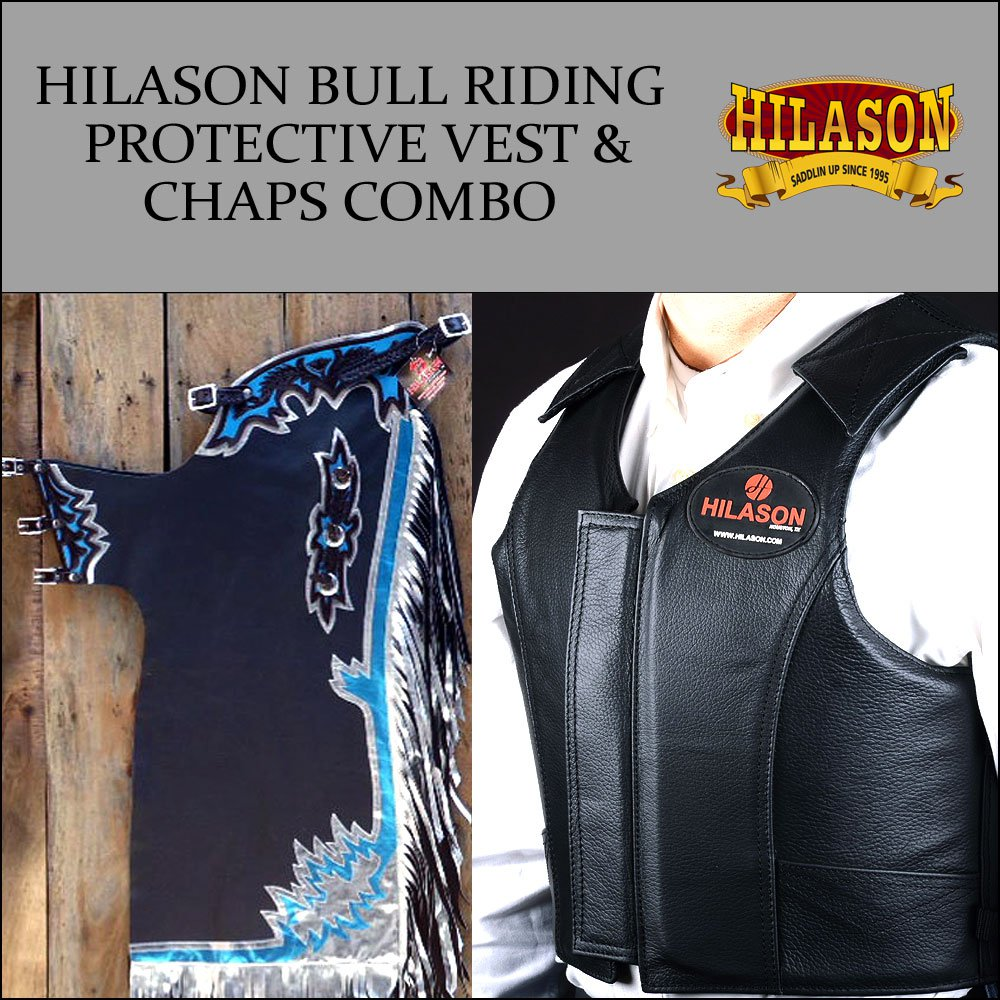 F9 HILASON WESTERN RODEO BRONC BULL RIDING SMOOTH LEATHER CHAPS PROTECTIVE VEST
