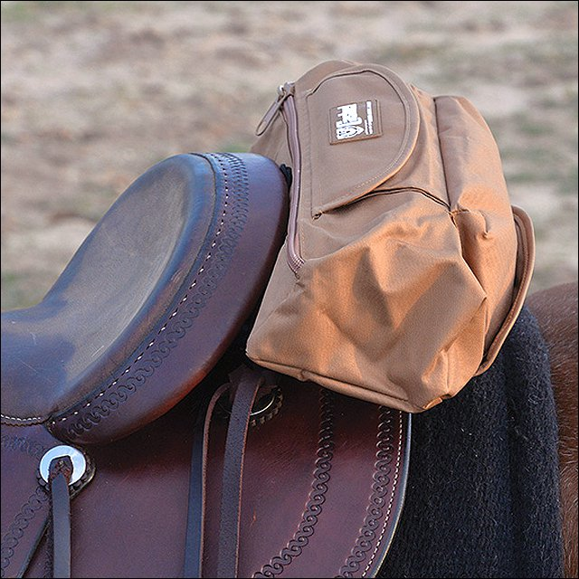 15X6X4 CLASSIC EQUINE CANTLE BAG W/ JACKET ROLL UP LINER BROWN