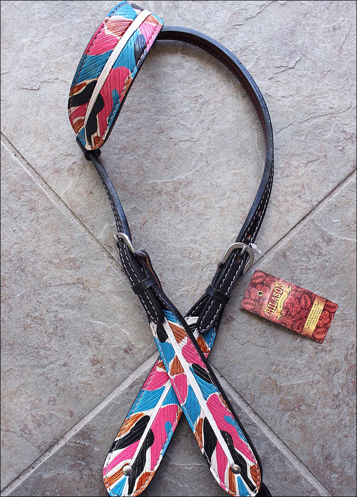 HILASON WESTERN LEATHER HORSE ONE EAR BRIDLE HEADSTALL NATIVE INDIAN FEATHER