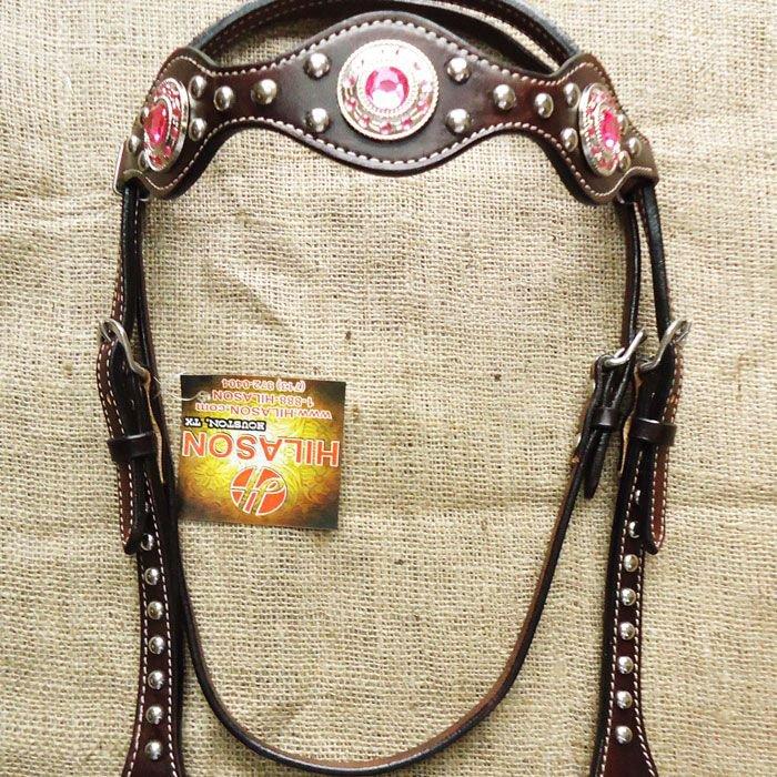 S - HILASON WESTERN LEATHER HORSE BRIDLE HEADSTALL DARK BROWN W/ PINK CONCHOS