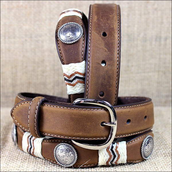 7969L 20 inch TONY LAMA BROWN KIDS BUCKAROO LEATHER WESTERN BELT