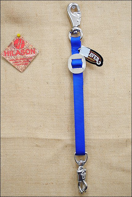WEAVER BLUE NYLON TACK HORSE TRAILER TIE NICKEL PLATED HARDWARE