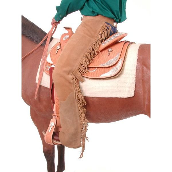 LARGE TOUGH 1 SUEDE LEATHER EQUITATION CHAPS W/ FRINGE SAND