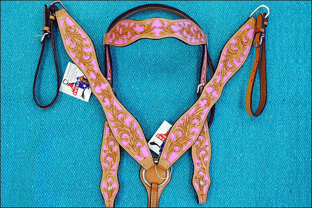 NEW HILASON WESTERN LEATHER HORSE BRIDLE HEADSTALL BREAST COLLAR W/ PINK INLAY