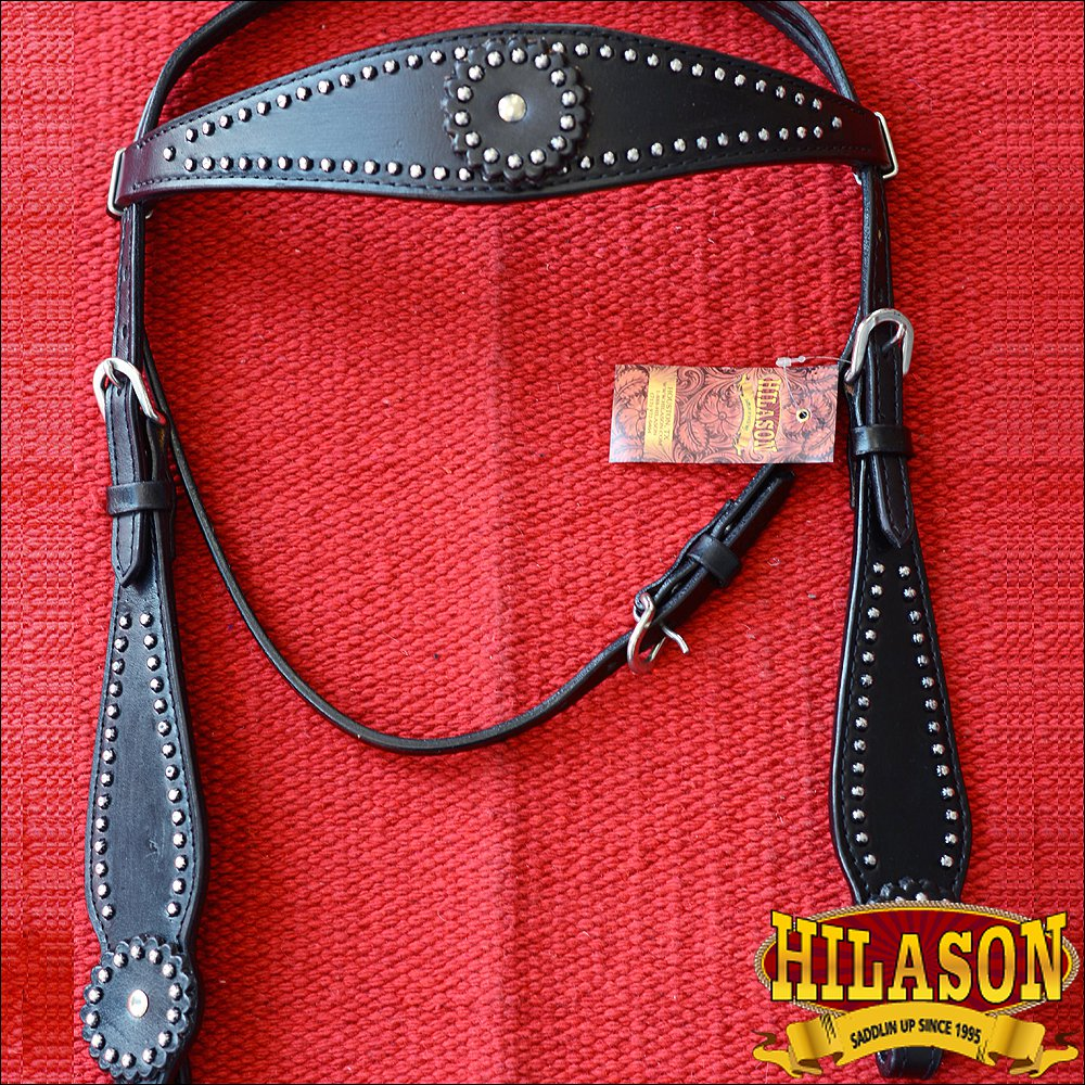 HILASON WESTERN LEATHER HORSE BRIDLE HEADSTALL BLACK