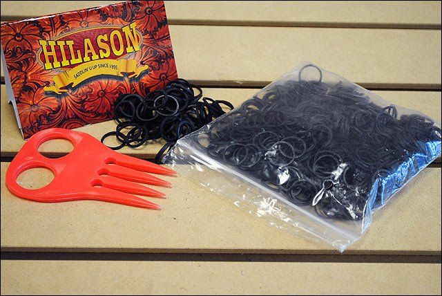 HILASON HORSE TACK RUBBER BRAID BANDS BLACK WITH RED COMB