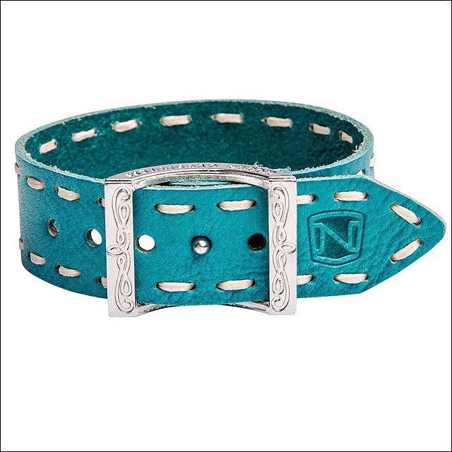 NOBLE OUTFITTERS CONTRAST STITCH ADJUSTABLE LEATHER BRACELET NATURAL TURQUOISE