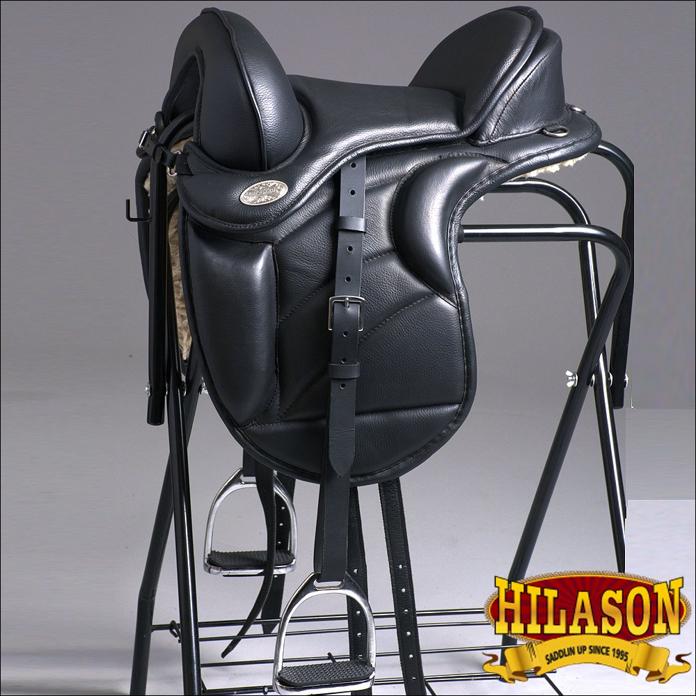 "TE102-15"" HILASON ENGLISH TREELESS ENDURANCE TRAIL PLEASURE LEATHER HORSE SADDLE"