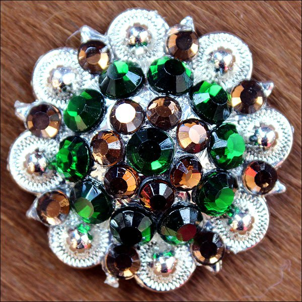 SET OF 4 BROWN GREEN CRYSTAL 1-1/4in BERRY CONCHO RHINESTONE BLING SADDLE TACK