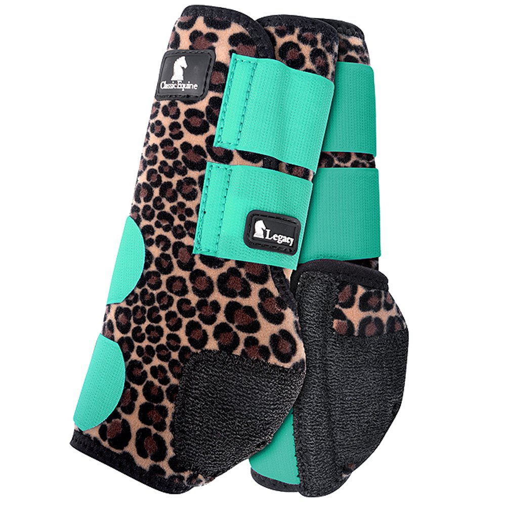 SMALL CLASSIC EQUINE LEGACY SYSTEM HORSE LEG NEOPRENE FRONT BOOTS CHEETAH MINT