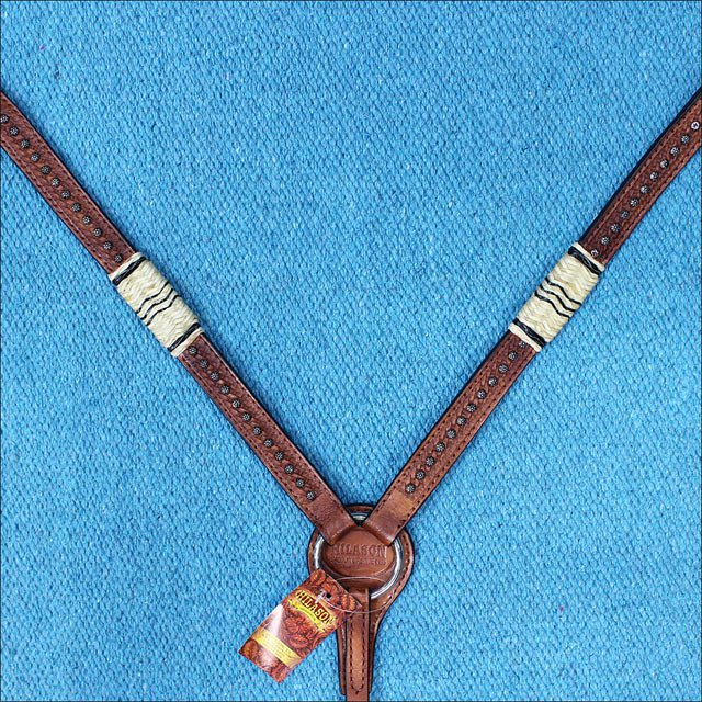 HILASON WESTERN LEATHER HORSE BREAST COLLAR RAWHIDE BRAIDED MAHOGANY