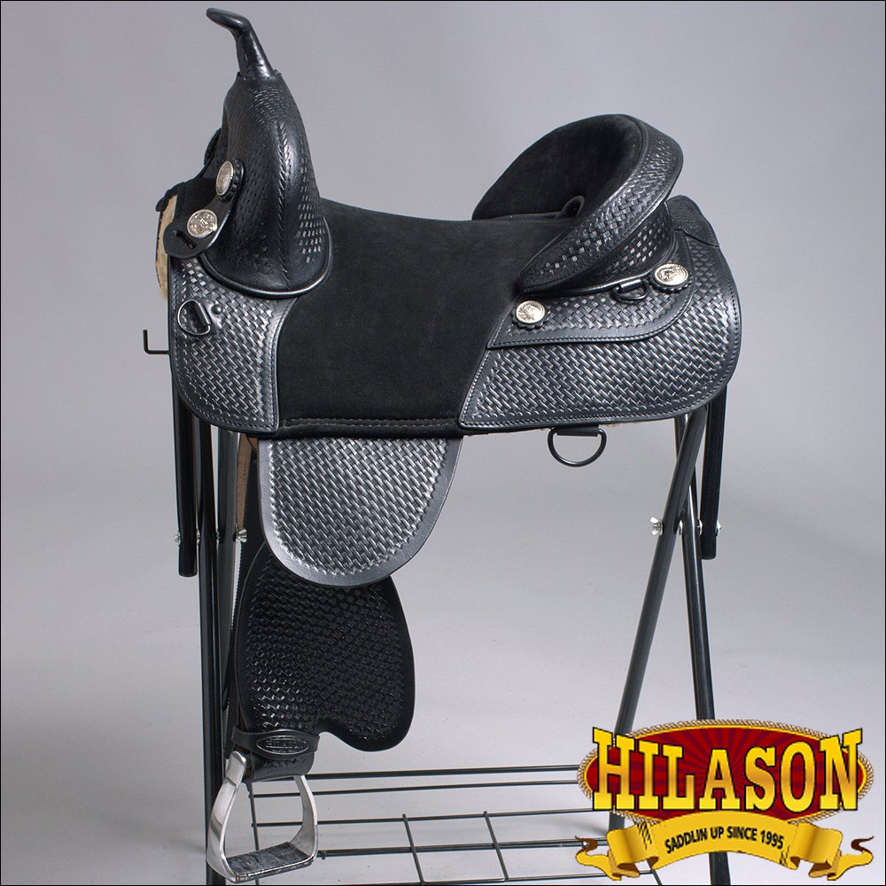 TW913-F HILASON TREELESS WESTERN LEATHER TRAIL BARREL RACING RIDING SADDLE 15""