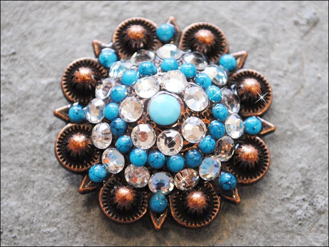 TURQUOISE CLEAR RHINESTONE CRYSTAL CONCHO BLING HEADSTALL TACK COWGIRL