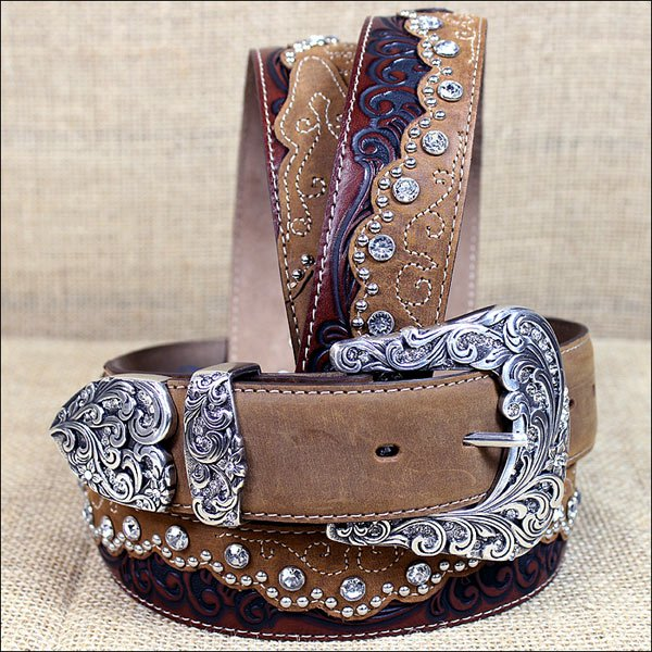 36 inch C50499 TONY LAMA BROWN KAITLYN CRYSTAL WESTERN LEATHER LADIES BELT