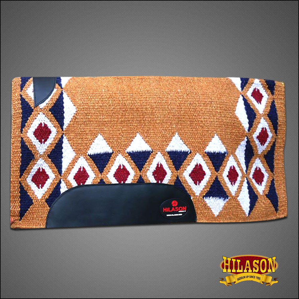 FEP209 HILASON SHOW NEW ZEALAND WOOL SADDLE BLANKET WESTERN RUST WHITE