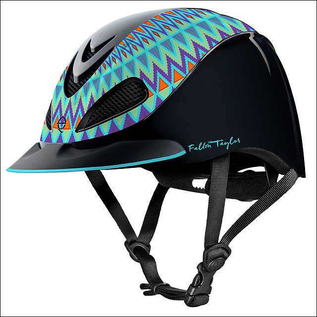 SMALL TROXEL FALLON TAYLOR MESH COVER HORSE RIDING HELMET TURQUOISE AZTEC