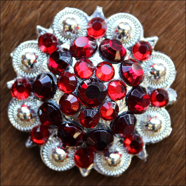 C31 SET OF 2 PINK RED CRYSTAL 1-1/4in. BERRY CONCHO RHINESTONE TACK SADDLE