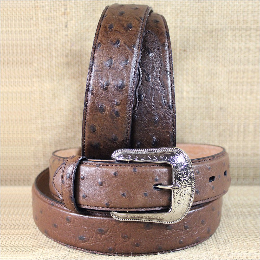 "42 X 1 1/2"" 3D BROWN MENS DRESS OSTRICH PRINT LEATHER BELT REMOVABLE BUCKLE"
