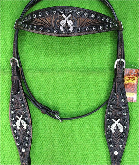HILASON WESTERN LEATHER HORSE HEADSTALL BLACK CROSS GUN CONCHO