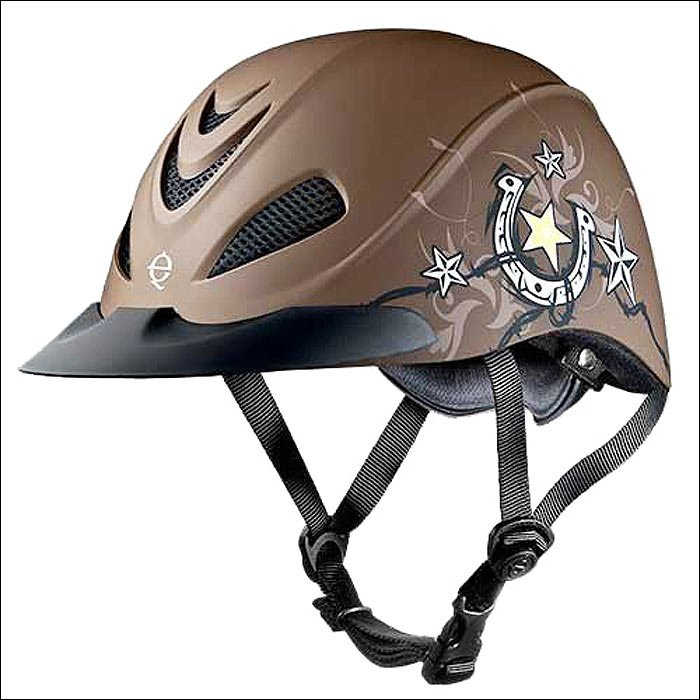 MEDIUM TROXEL REBEL STAR WITH BLACK HEADLINER LOW PROFILE WESTERN RIDING HELMET