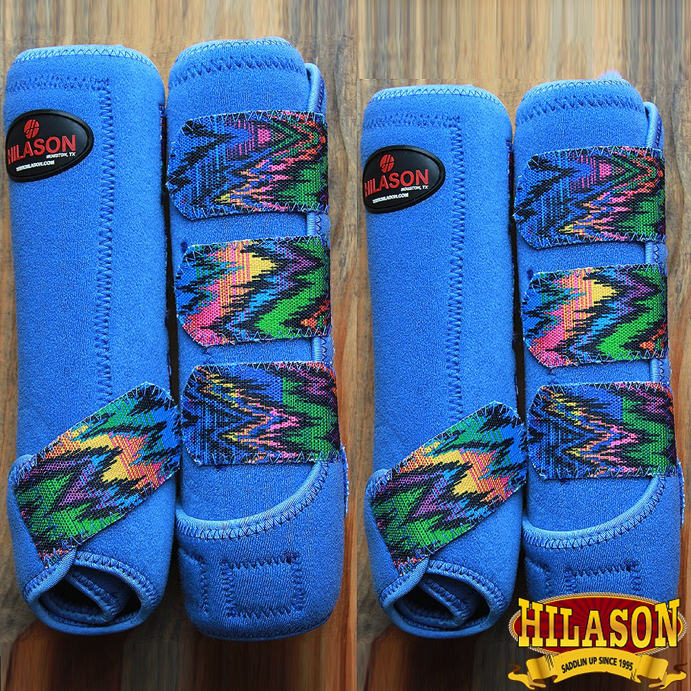 SMALL HILASON BLUE ZIGZAG HORSE FRONT REAR LEG PROTECTION SPORTS BOOT 4 PACK