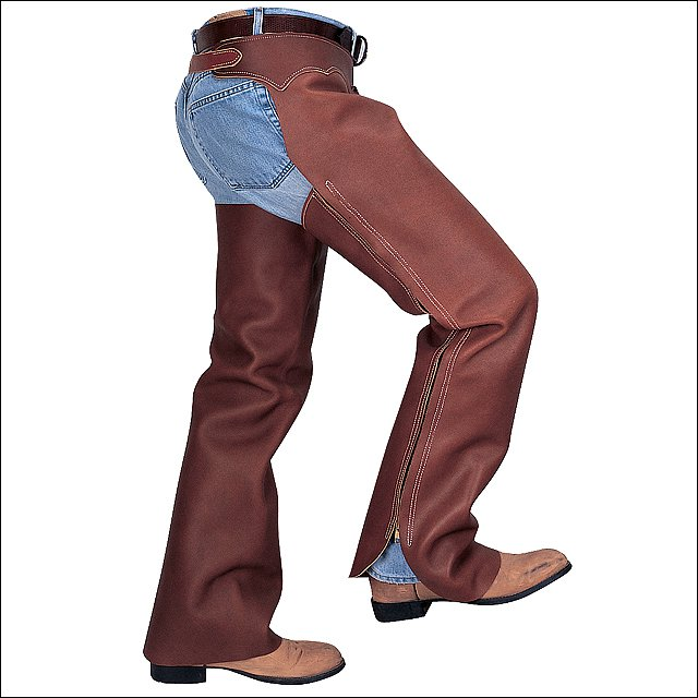 LARGE WEAVER LEATHER BROWN SHOTGUN FULL GRAIN LEATHER WORK RIDING CHAPS