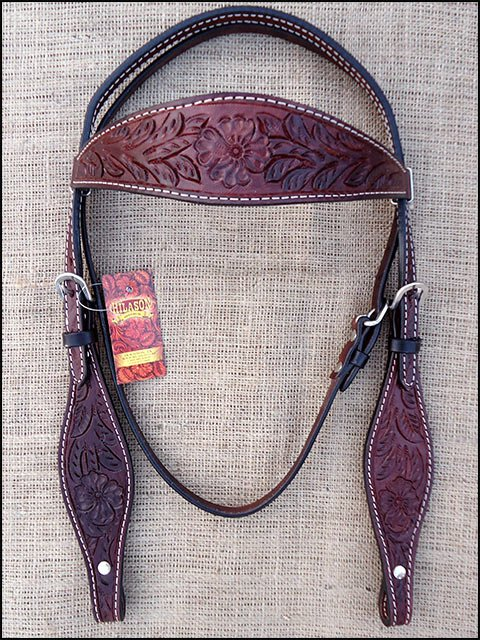F42 DARK BROWN HILASON WESTERN LEATHER HORSE BRIDLE HEADSTALL HAND CARVED