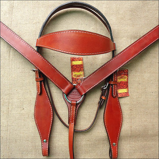 F614 HILASON LEATHER WESTERN HORSE HEADSTALL BRIDLE BREAST COLLAR - MAHOGANY