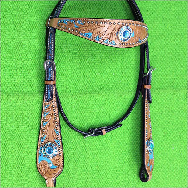 HILASON WESTERN LEATHER HORSE HEADSTALL BRIDLE TAN TURQUOISE BLING CONCHO