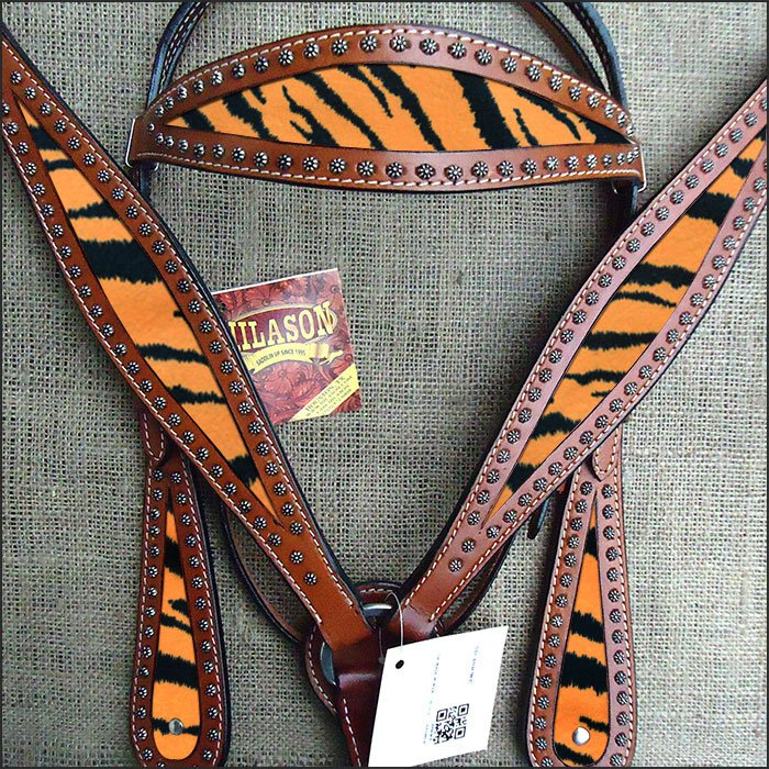 HILASON WESTERN LEATHER HORSE HEADSTALL BREAST COLLAR MAHOGANY TIGER INLAY