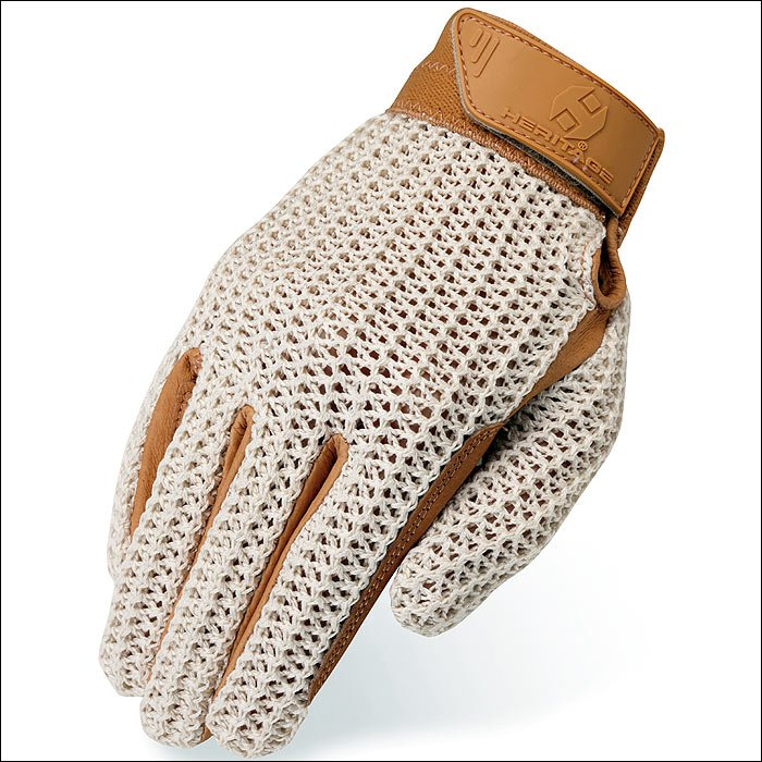 SIZE 03 HERITAGE CROCHET RIDING GLOVES HORSE EQUESTRIAN NATURAL/TAN